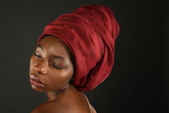 African Woman With Red Turban Stock Photos