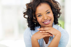 African woman relaxing home Royalty Free Stock Photo
