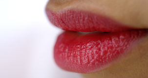 African woman's red luscious lips Stock Photos