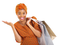 African woman shopping bags Stock Images