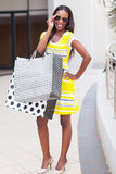 African woman shopping center Royalty Free Stock Images
