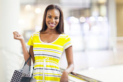 African woman shopping mall. Attractive african american woman in shopping mall Royalty Free Stock Images
