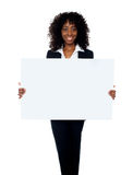 African woman showing billboard banner Stock Image