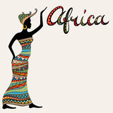 African woman silhouette and doodle style lettering. Royalty Free Stock Image