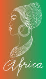 African woman. Silhouette of african woman in turban vector nahd drawn handwriting Royalty Free Stock Images
