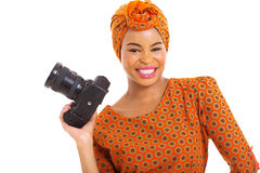 African woman SLR camera Stock Images