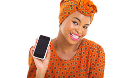 African woman smart phone Stock Photography