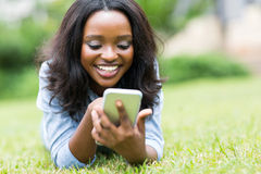 African woman smart phone Stock Photos