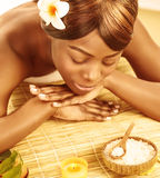 African woman in spa salon royalty free stock photo