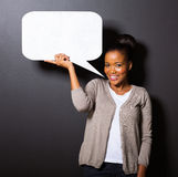 African woman speech bubble Stock Photo