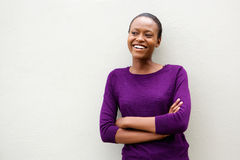 African woman standing with her arms crossed Royalty Free Stock Images