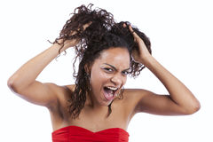 African woman stress Stock Photo