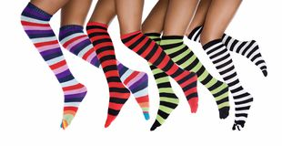 African woman with striped socks stock images
