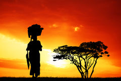 African woman at sunset. Illustration of African woman at sunset Stock Photos