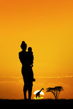 African woman at sunset. Illustration of African woman at sunset Stock Image