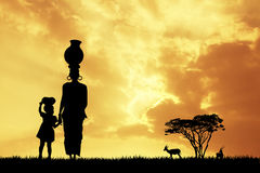 African woman at sunset. Illustration of African woman at sunset Stock Images