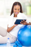 African woman tablet pc Stock Photo