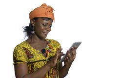 African woman with tablet PC. Studio Shot Royalty Free Stock Images
