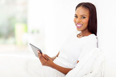 African woman tablet Stock Photography