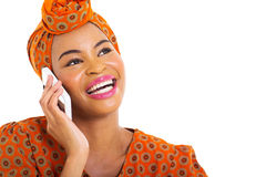 African woman talking cell Stock Image