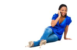 African Woman Talking On Phone Stock Image