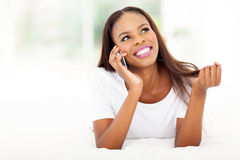 African woman talking phone Royalty Free Stock Photo