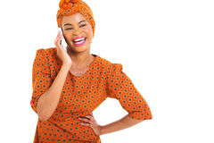 African woman talking smart phone Royalty Free Stock Photography