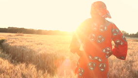African woman in traditional clothes standing in a field of crops at sunset or sunrise. African woman in traditional clothes standing in a field looking at stock video footage