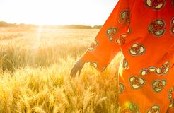 African woman in traditional clothes walking with her hand on a. African woman in traditional clothes walking with her hand touching field of barley or wheat Royalty Free Stock Photos