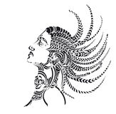 African woman with tresses, decorative Stock Image