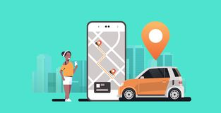 African woman using mobile app ordering automobile vehicle with location mark rent car sharing concept transportation. Carsharing service modern cityscape stock illustration