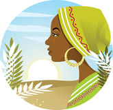 African Woman. Vector illustration portraying a young african womans profile, with a sunrise background. AI8 vector file included Royalty Free Stock Images