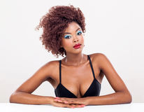 African woman wearing makeup Royalty Free Stock Images