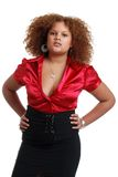 African woman wearing red top and black dress Stock Image