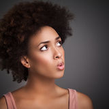 African Woman Whistling Stock Photo