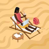 African woman work at beach chair concept background, isometric style vector illustration