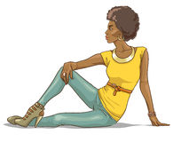 African woman in yellow/blue Royalty Free Stock Images