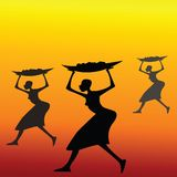 African women. Bears a basket with food vector illustration