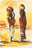 African women. African women .Picture I have painted myself with watercolors Stock Images