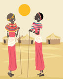 African women. A hand drawn illustration of two african women in the traditional dress of the samburu people Royalty Free Stock Photo
