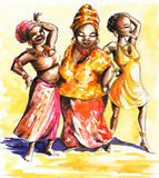 African women. Three happy dancing African  women.Picture I have created myself with watercolors Royalty Free Stock Photo