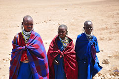 African women. AMBOSELI, KENYA - OCT 13: Group of unidentified African women from Masai tribe prepare to show a traditional Jump dance on Oct 13, 2011 in Masai Royalty Free Stock Image
