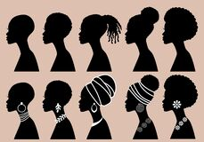 Free African Women, Black Girls, Profile Silhouettes, Vector Set Royalty Free Stock Image - 193964616