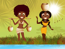 African women carrying water Stock Images