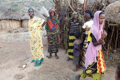 African women and children. From the Borana ethnic group, in ethiopian rural village, Ethiopia Stock Images