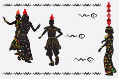 African women and a man dancing a folk dance with pitchers on th Royalty Free Stock Photo