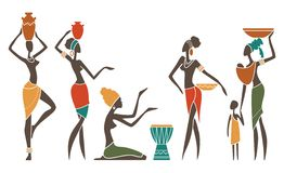 African women in traditional clothes. Silhouettes of African women in ethnic costumes royalty free illustration