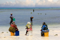 African women in traditional dress on the beach Stock Image