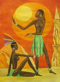 African women. Two African women at sunset royalty free illustration