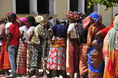 African women waiting to vote in line. Colorful clothes Stock Image